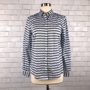 J. McLaughlin Striped Swiss Dot Shirt 4 H1640